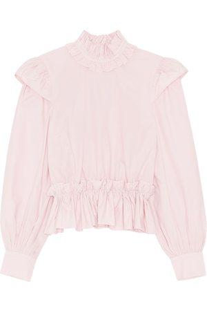 Ganni | Mujer Camisa Cropped De Popelina De Algodón Orgánico 34