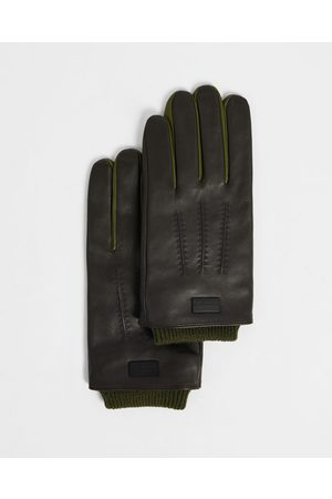 Ted Baker Leather Gloves With Ribbed Cuff