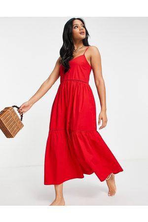 Accessorize Mujer Casual - Vestido largo escalonado de popelina de