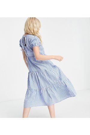 Influence Petite Mujer Casual - Vestido midi a cuadros vichy azules con lazadas en la espalda de