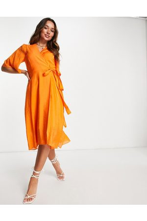 In wear Vestido midi naranja cruzado en la parte delantera Hazini de
