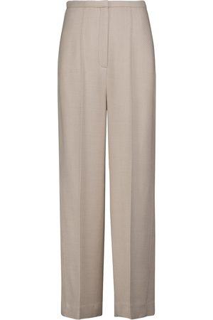 Totême Pantalones de sarga de lana de tiro alto