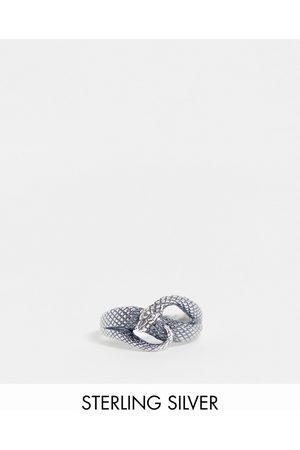 ASOS DESIGN Hombre Anillos - Anillo con diseño de serpiente enrollada de plata de ley de