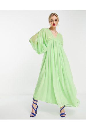 ASOS EDITION Mujer De noche - Vestido midi con cuello de pico y cordón ajustable en las mangas de