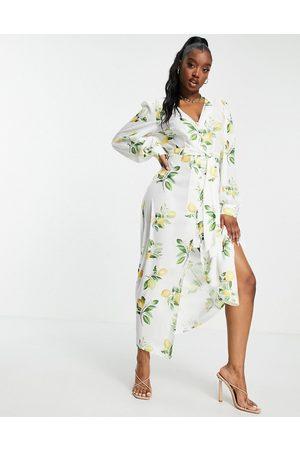 In The Style Vestido midi con detalle anudado y estampado veraniego de limones de x Stacey Solomon