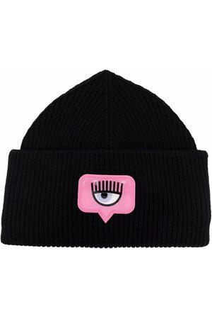 Chiara Ferragni Patch-detail ribbed-knit hat