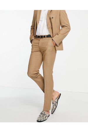 ASOS DESIGN Pantalones de traje color camel de corte slim de