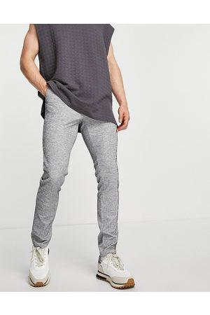 ASOS DESIGN Hombre Pantalones chinos - Pantalones de vestir pitillo grises con cordón ajustable en la cinturilla de punto de canalé de (parte de un conjunto)