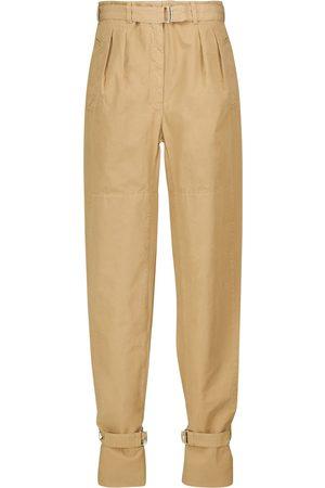 Lemaire Pantalones de algodón de tiro medio