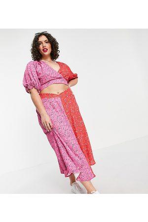 Twisted Wunder Plus Mujer Estampadas - Falda midi con estampado floral estilo patchwork de (parte de un conjunto)-Multicolor
