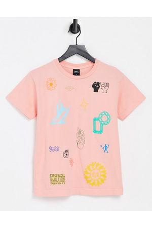 Obey Camiseta holgada con estampado de paz y amor de -Rosa