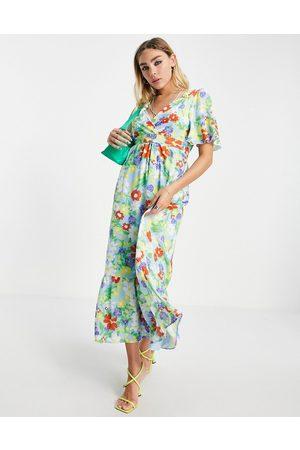 Twisted Wunder Mujer Casual - Vestido midi multicolor cruzado con estampado floral de