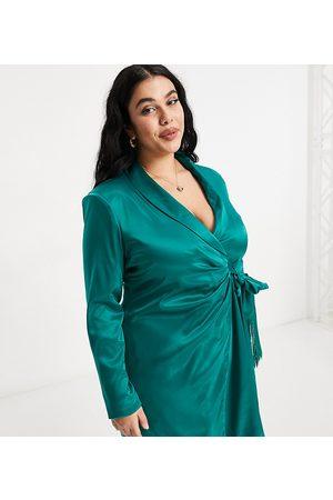 Saint Genies Plus Mujer De noche - Vestido verde esmeralda estilo americana con detalle de flecos de