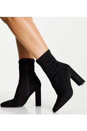 ASOS DESIGN Mujer Botas - Botas negras estilo calcetines con tacón en bloque Effect de Wide Fit