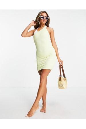 Public Desire Vestido corto asimétrico de tejido fruncido de