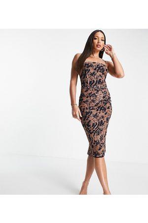 NaaNaa Tall Vestido color piedra asimétrico ajustado con diseño estampado de -Beis