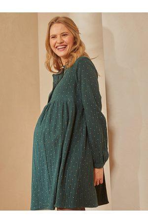Vertbaudet Vestido estampado de gasa de algodón para embarazo y lactancia oscuro liso con motivos