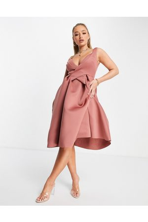 ASOS Mujer De noche - Vestido midi rosa de corte skater plisado con diseño cruzado de tirantes de