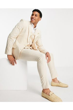 ASOS DESIGN Hombre Pantalones de traje - Pantalones de traje color superpitillo a cuadros príncipe de Gales de lino de Wedding-Beis