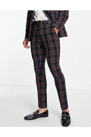 ASOS DESIGN Hombre Pantalones de traje - Pantalones de traje a cuadros escoceses verdes con botón dorado de corte pitillo de