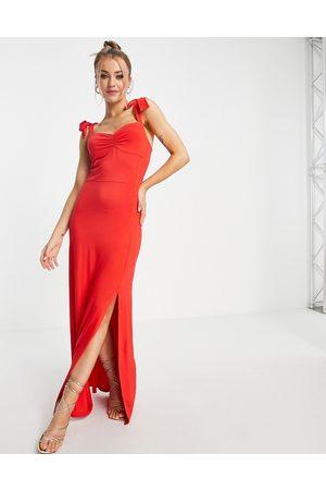 Lipsy London Vestido largo con tirantes anudados y abertura en el bajo de