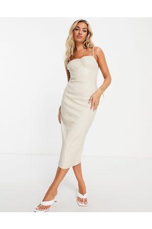 Missguided Vestido color ajustado de cuero sintético de -Marrón