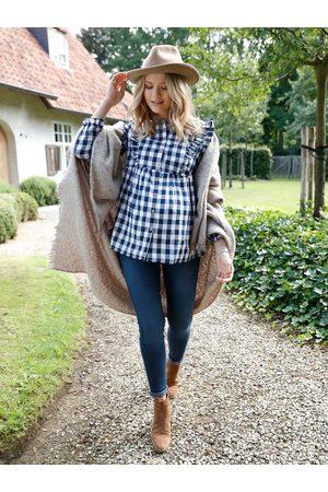 Vertbaudet Mujer Blusas - Blusa a cuadros tejidos para embarazo y lactancia oscuro a cuadros