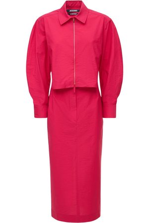 Jacquemus | Mujer Vestido Midi La Robe Ozco De Lona De Algodón 32