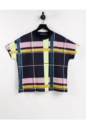 Fred Perry Mujer Tops - Camiseta con estampado a cuadros en la parte delantera de
