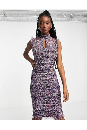 Lipsy London Vestido midi con diseño estampado de malla de
