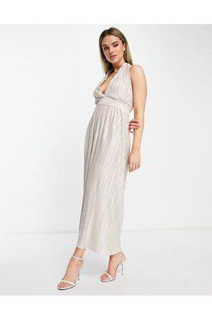TFNC Mujer De noche - Vestido midi color crema plisado con acabado metalizado de