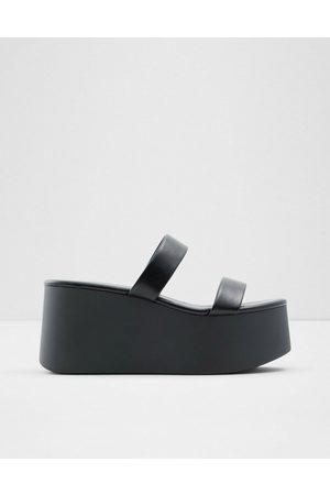 Aldo Sandalias negras de plataforma plana con tira doble Wiceclya de