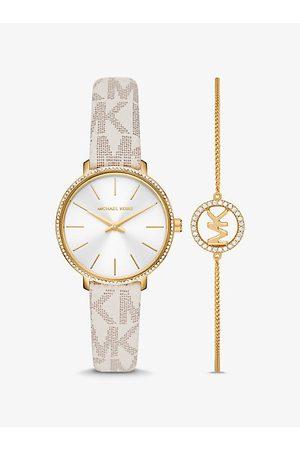 Michael Kors Relojes - MKSet de pulsera y reloj Pyper en tono dorado con logotipo - Vainilla(Nude)