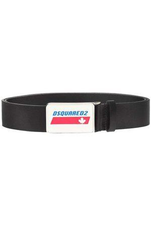 Dsquared2 Men's Plaque Leather Belt Black - BLACK 30