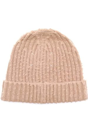 Maison Margiela Men's Ribbed-Knit Beanie Brown - BROWN LARGE