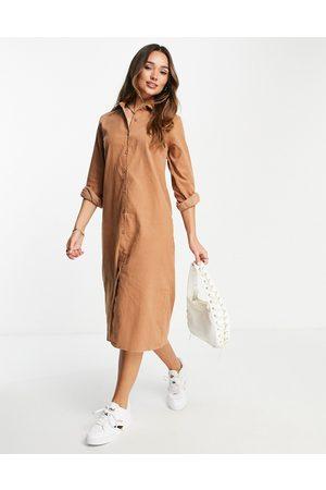 Urban Threads Mujer Casual - Vestido camisero midi color topo extragrande de pana de -Marrón