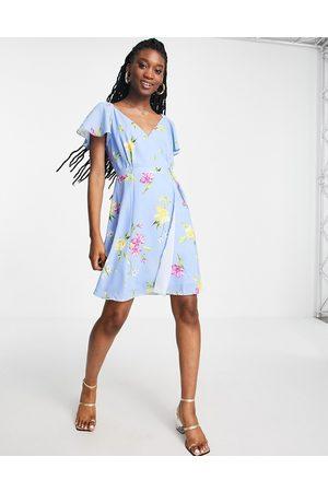 French Connection Vestido corto azul con estampado floral y lazada de