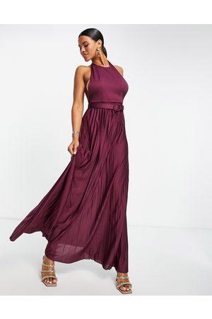 ASOS Mujer De noche - Vestido largo color plisado con cuello halter y cinturón de -Violeta