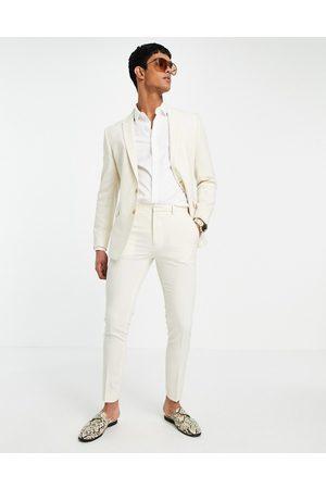 ASOS Hombre Pantalones de traje - Pantalones de traje superpitillo color de tejido de hilo cruzado de Wedding-Beis