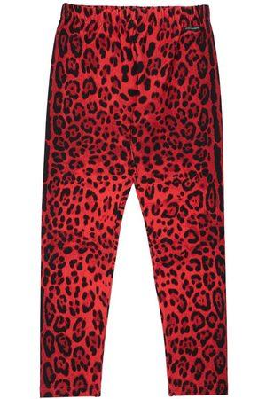 Dolce & Gabbana Niña Pantalones y Leggings -   Niña Leggings De Algodón Con Estampado Animal /negro 8a