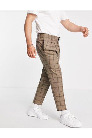 ASOS Hombre Pantalones chinos - Pantalones de vestir capri de corte tapered a cuadros color de mezcla de lana de -Beis neutro