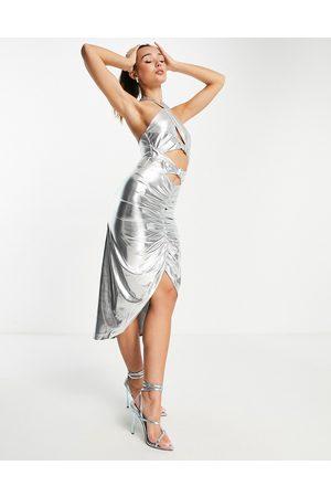 Virgos Vestido midi con diseño fruncido y cuello halter de VL the Label