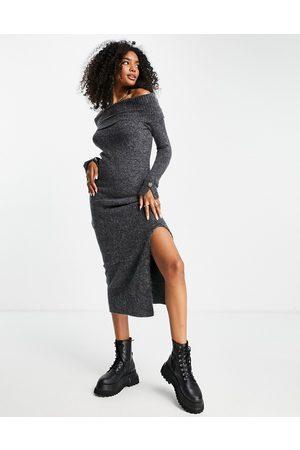 River Island Mujer De punto - Vestido midi estilo jersey con escote Bardot de
