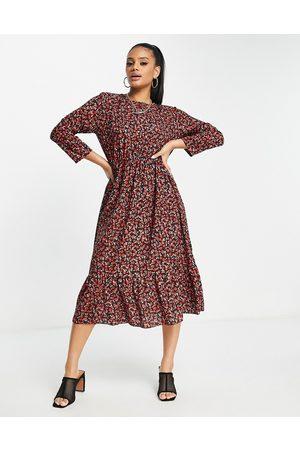 I saw it first Mujer Casual - Vestido midi de corte amplio con volantes en el bajo y estampado floral de