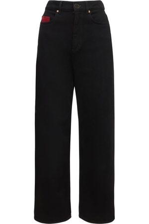 Agnona   Mujer Pantalones Rectos Cropped De Denim De Algodón 38