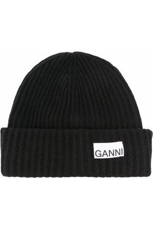 Ganni Mujer Gorros - Logo-patch beanie hat
