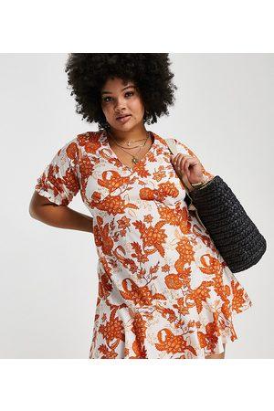 Simply Be Mujer Casual - Vestido naranja con estampado floral de corte skater de