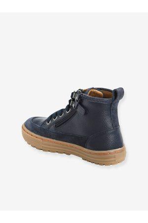 Vertbaudet Niño Zapatillas deportivas - Zapatillas de piel con cordones y cremalleras, para niño oscuro liso