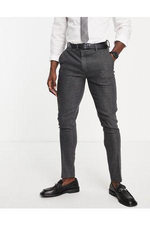 ASOS Hombre Pantalones de traje - Pantalones de traje ajustados de mezcla de lana con diseño de espiga color de wedding-Gris
