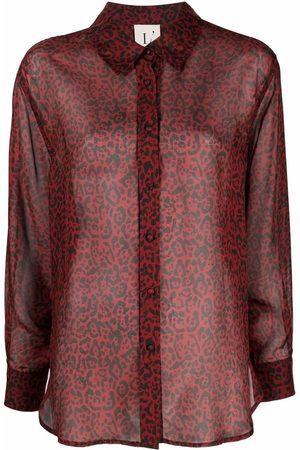 L'Autre Chose Camisa de seda con estampado de leopardo